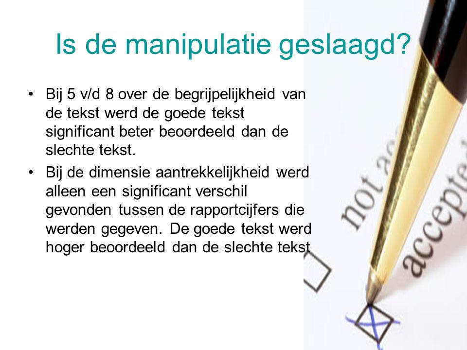 Is de manipulatie geslaagd? Bij 5 v/d 8 over de begrijpelijkheid van de tekst werd de goede tekst significant beter beoordeeld dan de slechte tekst. B