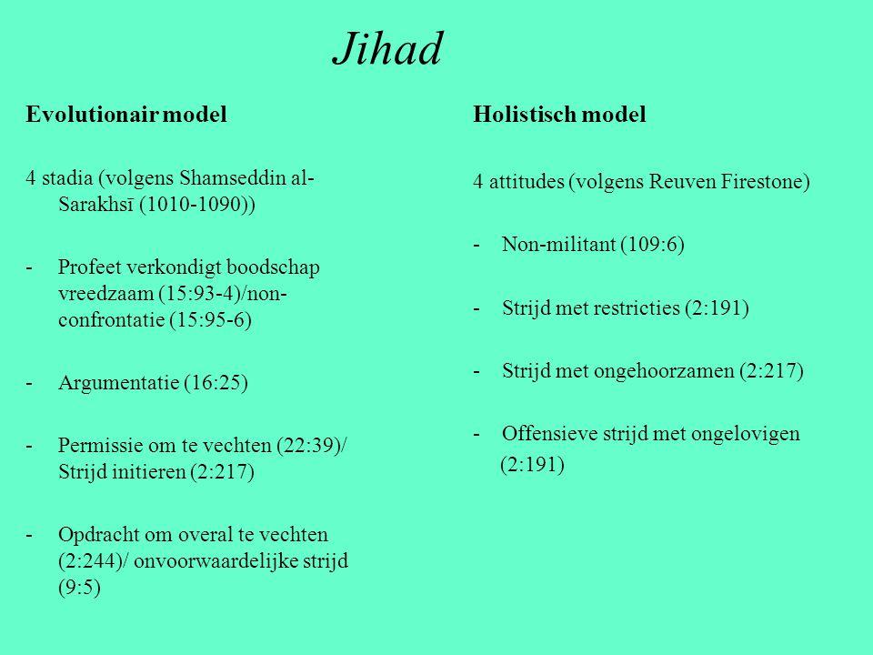 Jihad Evolutionair model 4 stadia (volgens Shamseddin al- Sarakhsī (1010-1090)) -Profeet verkondigt boodschap vreedzaam (15:93-4)/non- confrontatie (1