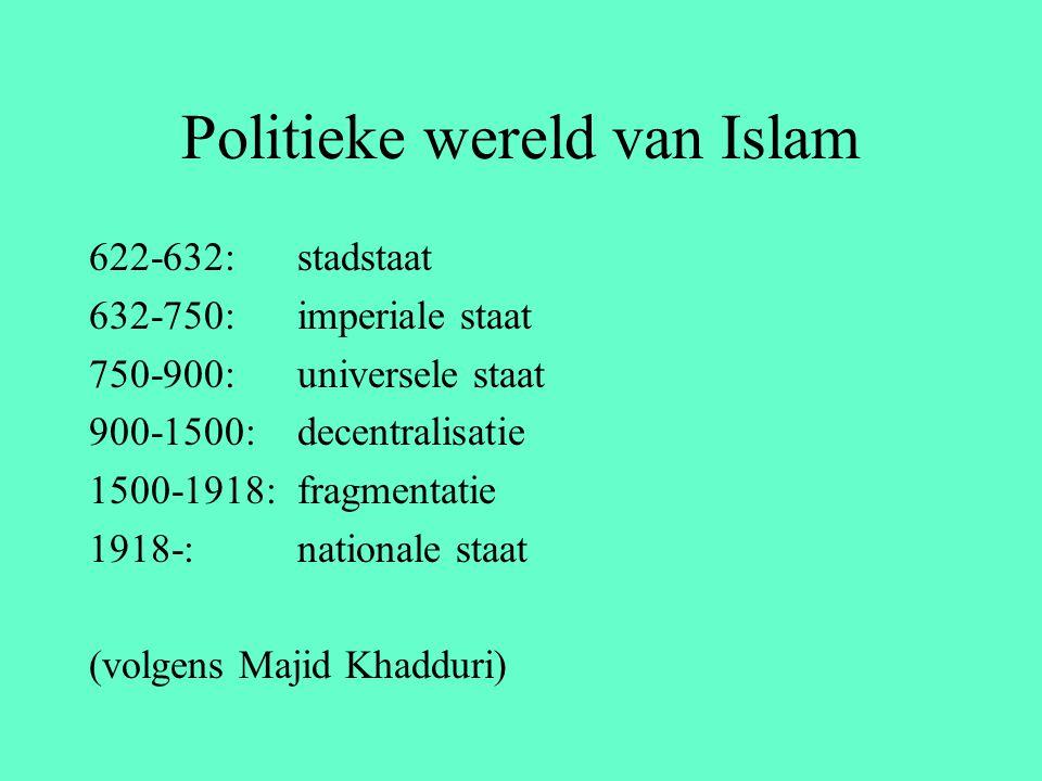Politieke wereld van Islam 622-632: stadstaat 632-750: imperiale staat 750-900: universele staat 900-1500: decentralisatie 1500-1918: fragmentatie 191