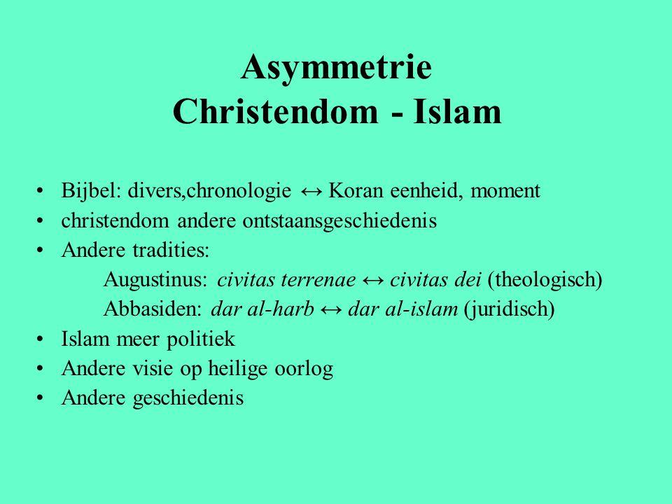 Asymmetrie Christendom - Islam Bijbel: divers,chronologie ↔ Koran eenheid, moment christendom andere ontstaansgeschiedenis Andere tradities: Augustinu