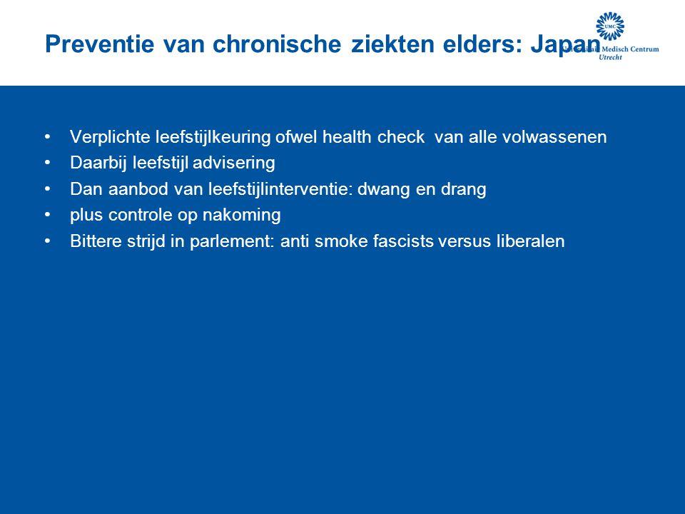 Preventie van chronische ziekten elders: Japan Verplichte leefstijlkeuring ofwel health check van alle volwassenen Daarbij leefstijl advisering Dan aanbod van leefstijlinterventie: dwang en drang plus controle op nakoming Bittere strijd in parlement: anti smoke fascists versus liberalen