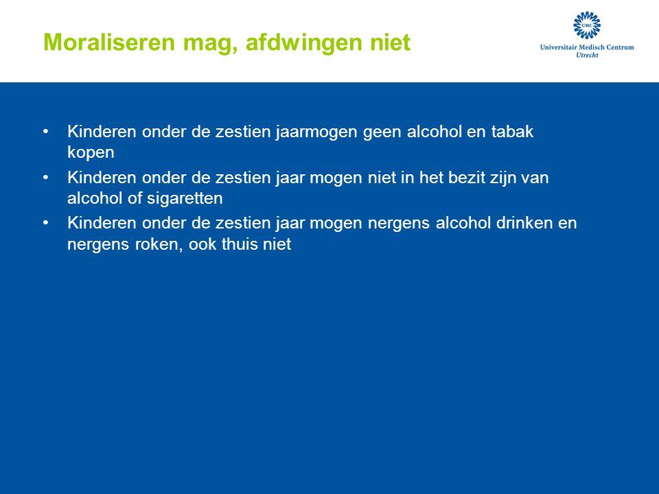 Moraliseren mag, afdwingen niet Kinderen onder de zestien jaarmogen geen alcohol en tabak kopen Kinderen onder de zestien jaar mogen niet in het bezit zijn van alcohol of sigaretten Kinderen onder de zestien jaar mogen nergens alcohol drinken en nergens roken, ook thuis niet