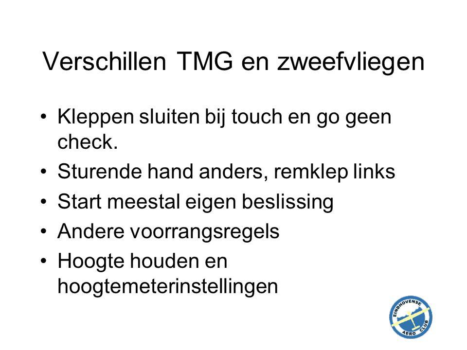 Verschillen TMG en zweefvliegen Kleppen sluiten bij touch en go geen check.