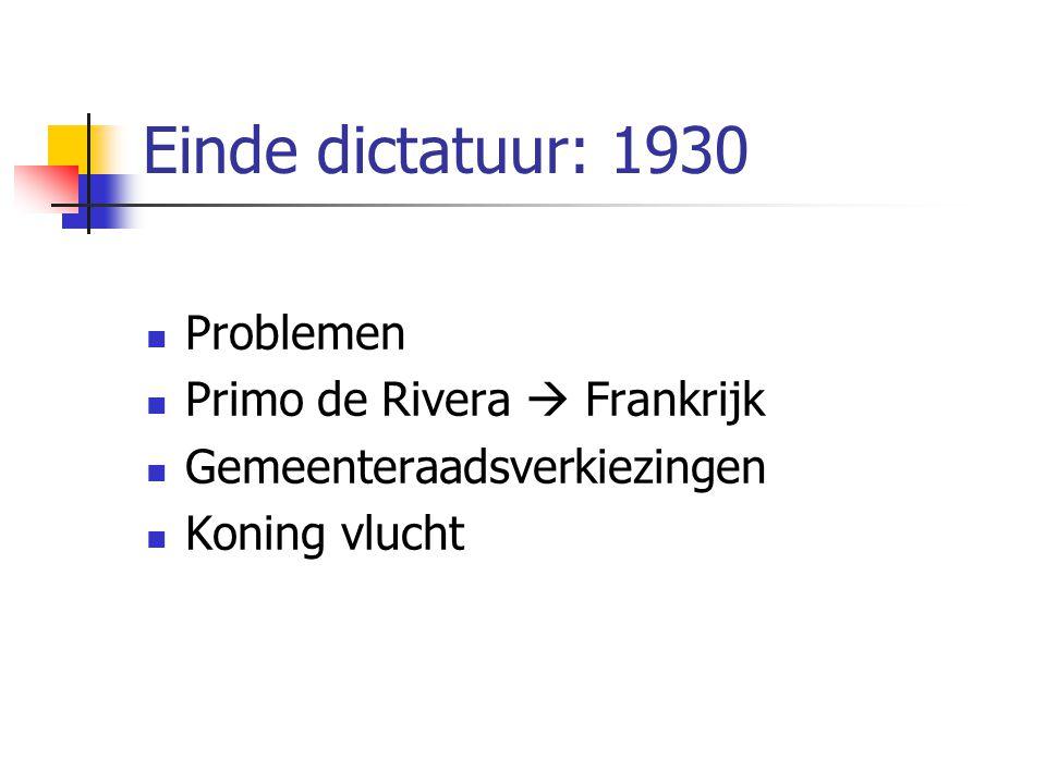 Einde dictatuur: 1930 Problemen Primo de Rivera  Frankrijk Gemeenteraadsverkiezingen Koning vlucht