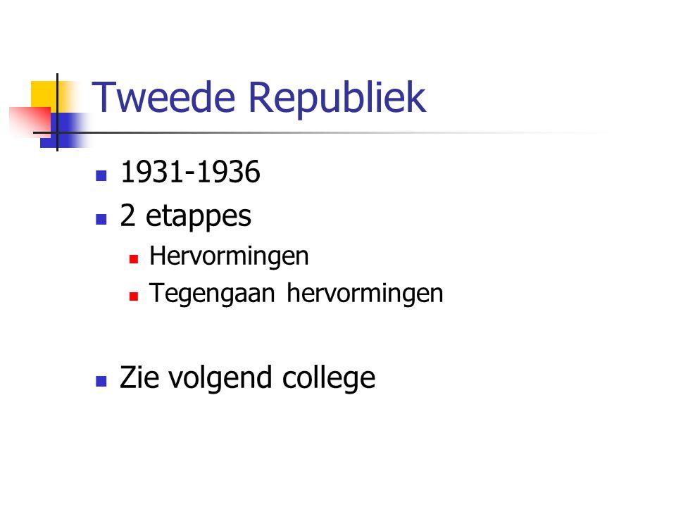 Tweede Republiek 1931-1936 2 etappes Hervormingen Tegengaan hervormingen Zie volgend college