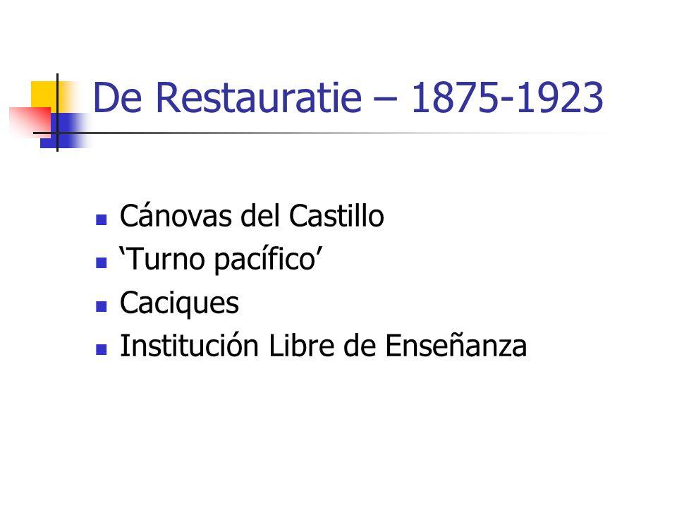 De Restauratie – 1875-1923 Cánovas del Castillo 'Turno pacífico' Caciques Institución Libre de Enseñanza