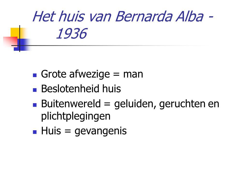 Het huis van Bernarda Alba - 1936 Grote afwezige = man Beslotenheid huis Buitenwereld = geluiden, geruchten en plichtplegingen Huis = gevangenis