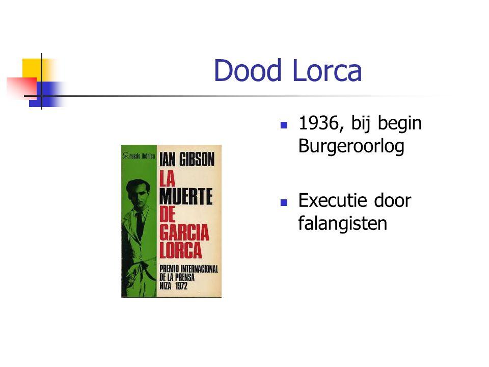 Dood Lorca 1936, bij begin Burgeroorlog Executie door falangisten