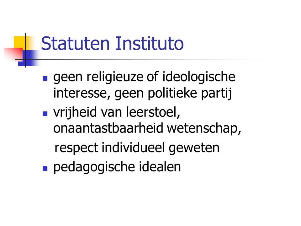 Statuten Instituto geen religieuze of ideologische interesse, geen politieke partij vrijheid van leerstoel, onaantastbaarheid wetenschap, respect indi