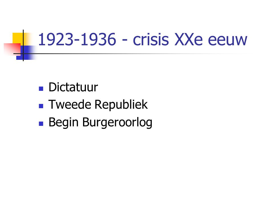 1923-1936 - crisis XXe eeuw Dictatuur Tweede Republiek Begin Burgeroorlog