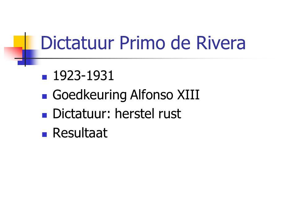 Dictatuur Primo de Rivera 1923-1931 Goedkeuring Alfonso XIII Dictatuur: herstel rust Resultaat
