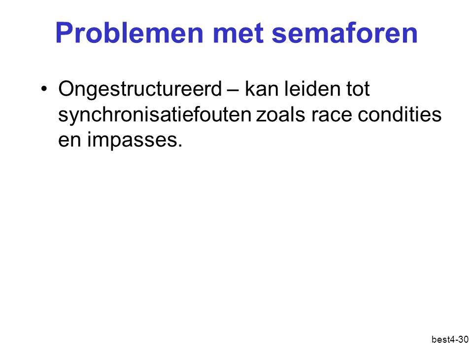 Problemen met semaforen Ongestructureerd – kan leiden tot synchronisatiefouten zoals race condities en impasses.