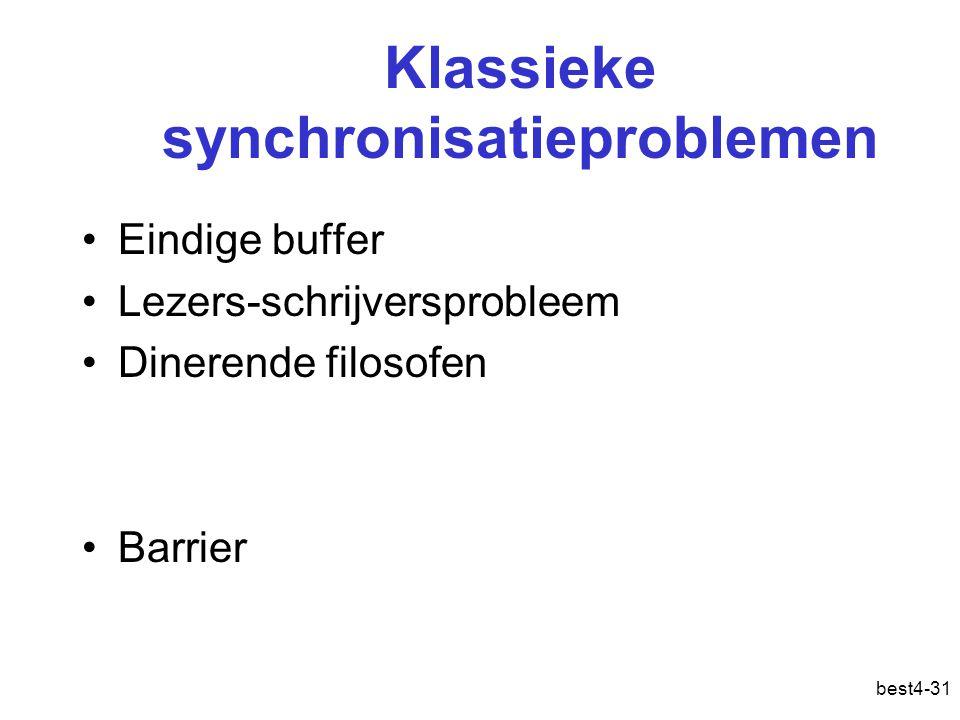 best4-31 Klassieke synchronisatieproblemen Eindige buffer Lezers-schrijversprobleem Dinerende filosofen Barrier