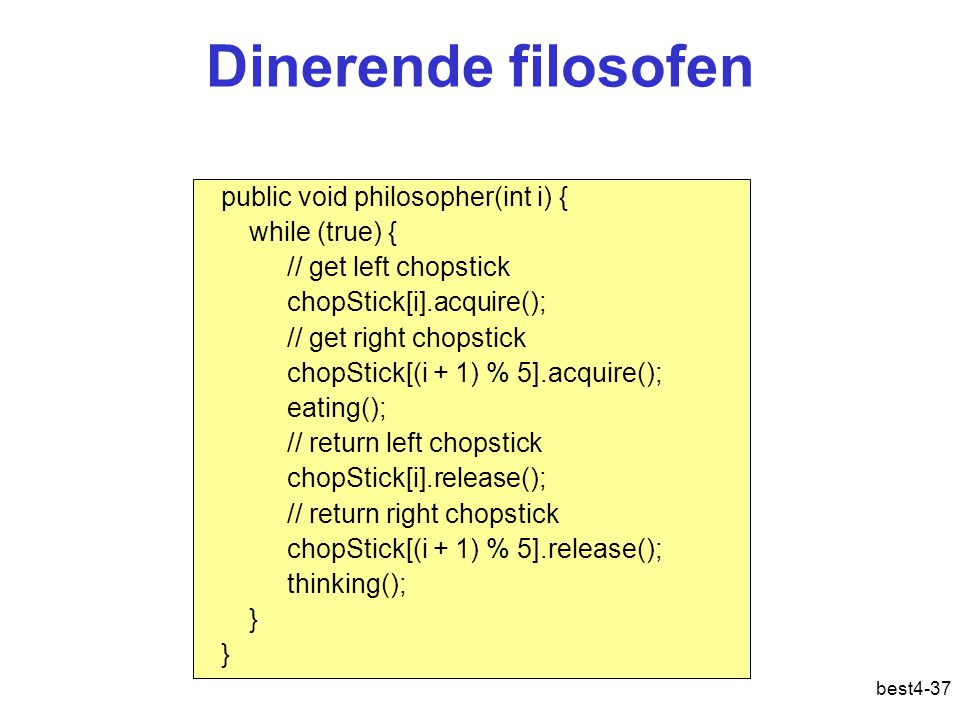 best4-37 Dinerende filosofen public void philosopher(int i) { while (true) { // get left chopstick chopStick[i].acquire(); // get right chopstick chopStick[(i + 1) % 5].acquire(); eating(); // return left chopstick chopStick[i].release(); // return right chopstick chopStick[(i + 1) % 5].release(); thinking(); }
