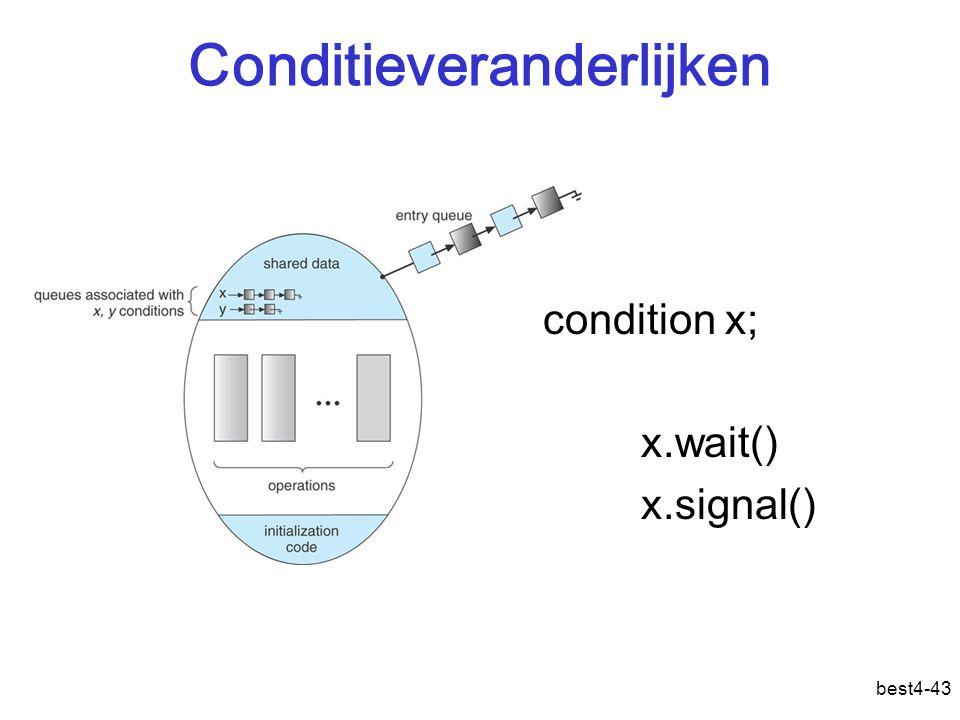 best4-43 Conditieveranderlijken condition x; x.wait() x.signal()