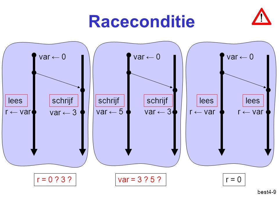 best4-9 Raceconditie r ← var var ← 3 r = 0 . 3 . var ← 5var ← 3 var = 3 .