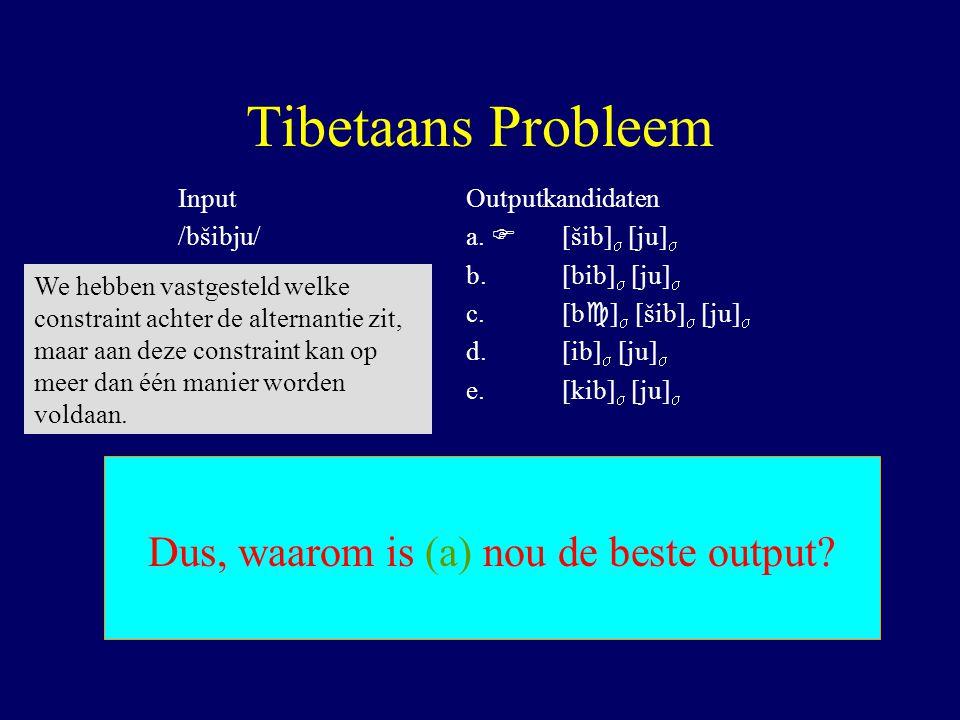 Tibetaans Probleem InputOutputkandidaten /bšibju/a.