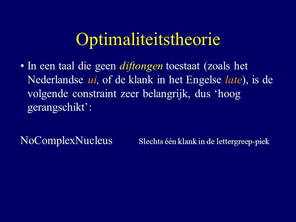 In een taal die geen diftongen toestaat (zoals het Nederlandse ui, of de klank in het Engelse late), is de volgende constraint zeer belangrijk, dus 'hoog gerangschikt': NoComplexNucleus Slechts één klank in de lettergreep-piek Optimaliteitstheorie