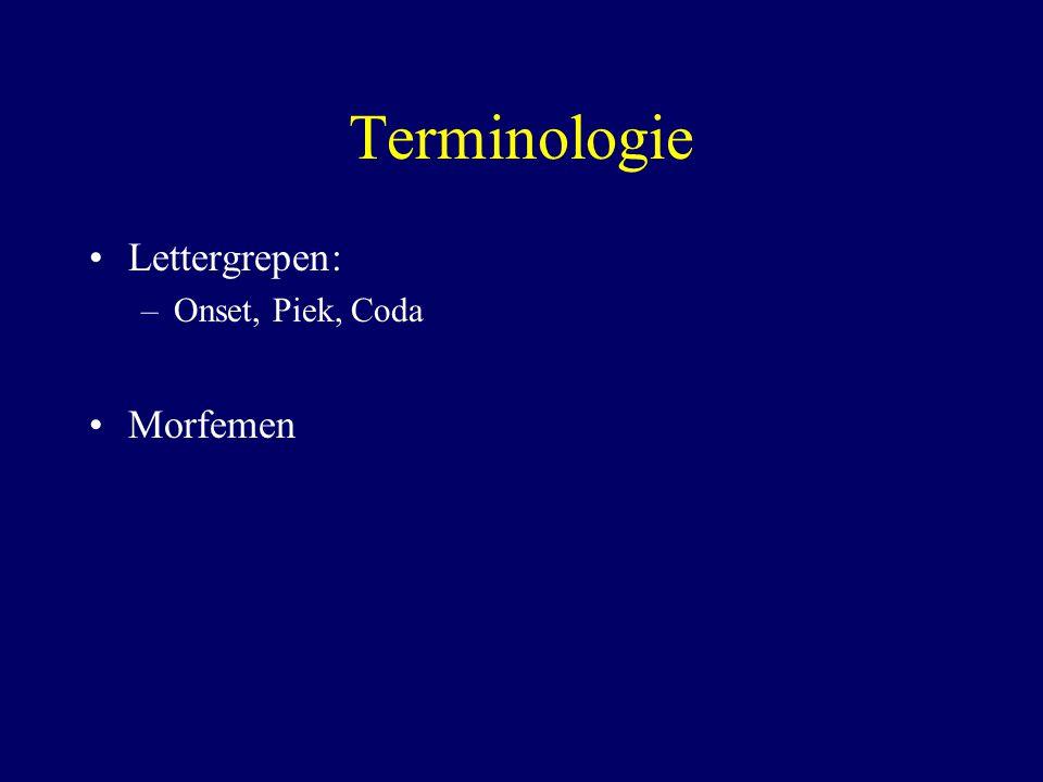 Terminologie Lettergrepen: –Onset, Piek, Coda Morfemen