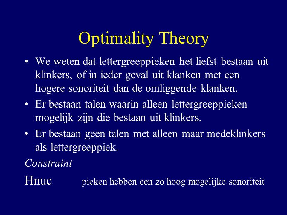 Optimality Theory We weten dat lettergreeppieken het liefst bestaan uit klinkers, of in ieder geval uit klanken met een hogere sonoriteit dan de omliggende klanken.