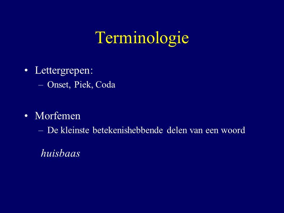 Terminologie Lettergrepen: –Onset, Piek, Coda Morfemen –De kleinste betekenishebbende delen van een woord huisbaas