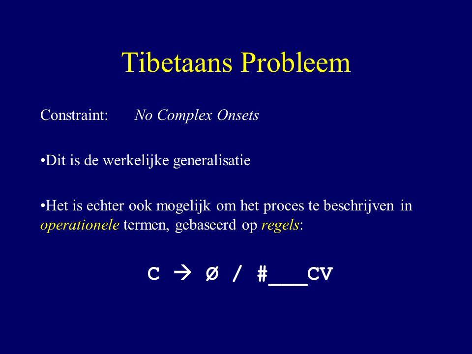 Tibetaans Probleem Constraint: No Complex Onsets Dit is de werkelijke generalisatie Het is echter ook mogelijk om het proces te beschrijven in operationele termen, gebaseerd op regels: C  Ø / #___CV