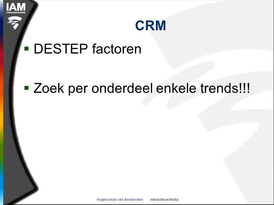 Hogeschool van Amsterdam Interactieve Media CRM  Demografische  Economische