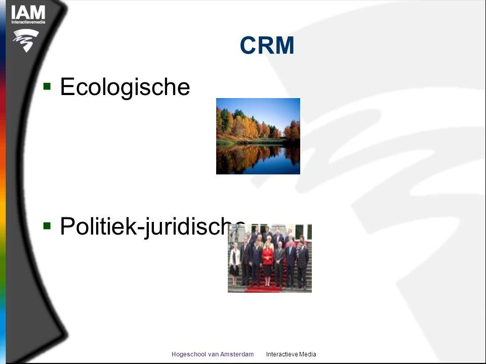 Hogeschool van Amsterdam Interactieve Media CRM  Ecologische  Politiek-juridische