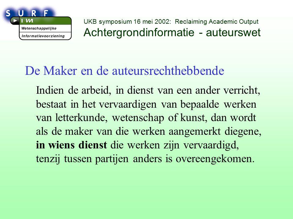 UKB symposium 16 mei 2002: Reclaiming Academic Output Internationale ontwikkelingen Conference Copyright and Universities *juni 2001 *december 2002 *website