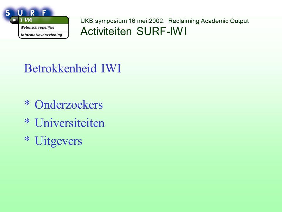 UKB symposium 16 mei 2002: Reclaiming Academic Output Activiteiten SURF-IWI Betrokkenheid IWI *Onderzoekers *Universiteiten *Uitgevers
