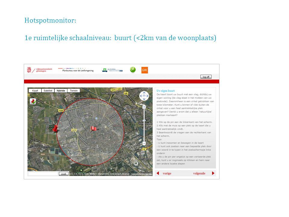 Hotspotmonitor: 1e ruimtelijke schaalniveau: buurt (<2km van de woonplaats)