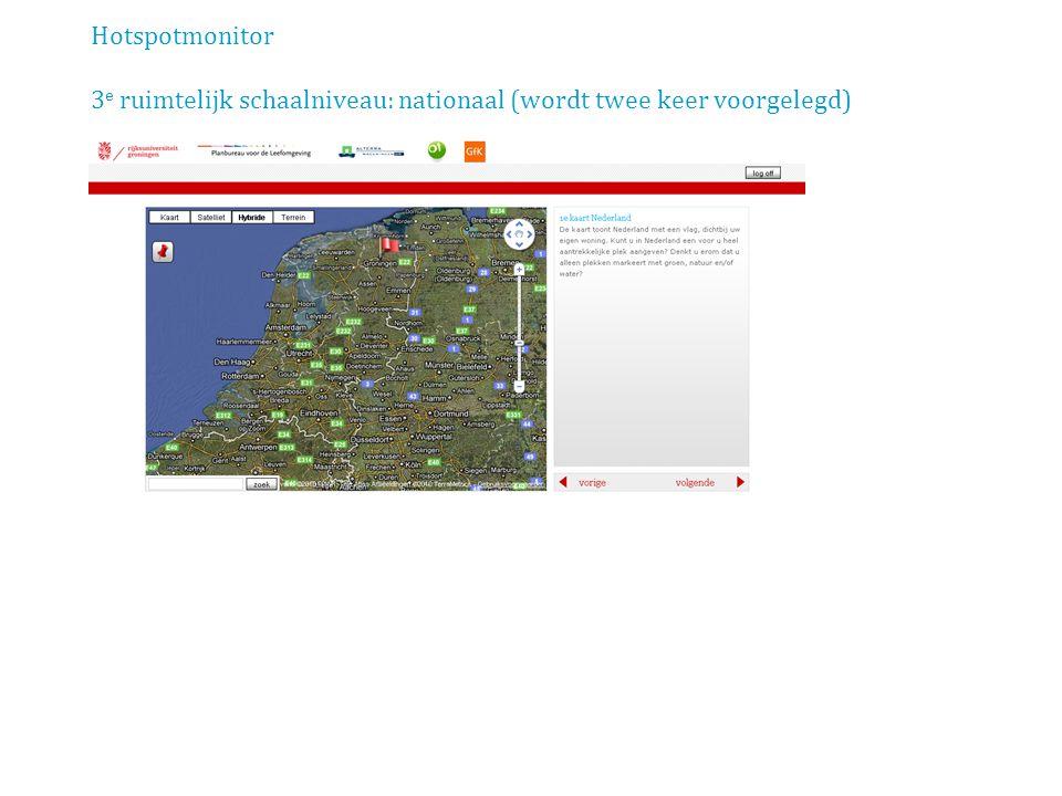 Hotspotmonitor scherm: Natuurbeeld (profilering van respondent) o.b.v. Buijs (2009)