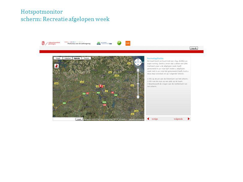 Hotspotmonitor scherm: Recreatie afgelopen week