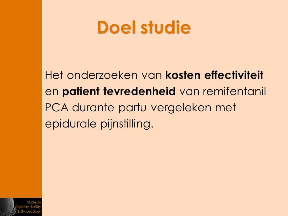 Doel studie Het onderzoeken van kosten effectiviteit en patient tevredenheid van remifentanil PCA durante partu vergeleken met epidurale pijnstilling.