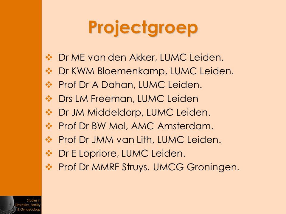 Projectgroep  Dr ME van den Akker, LUMC Leiden.  Dr KWM Bloemenkamp, LUMC Leiden.  Prof Dr A Dahan, LUMC Leiden.  Drs LM Freeman, LUMC Leiden  Dr