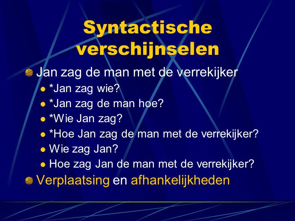 Syntactische verschijnselen Jan zag de man met de verrekijker *Jan zag wie? *Jan zag de man hoe? *Wie Jan zag? *Hoe Jan zag de man met de verrekijker?