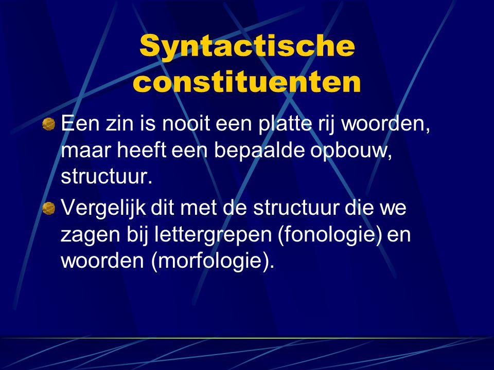Syntactische constituenten Een zin is nooit een platte rij woorden, maar heeft een bepaalde opbouw, structuur. Vergelijk dit met de structuur die we z