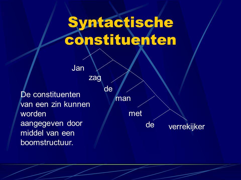 Syntactische constituenten Jan zag de man met de verrekijker De constituenten van een zin kunnen worden aangegeven door middel van een boomstructuur.