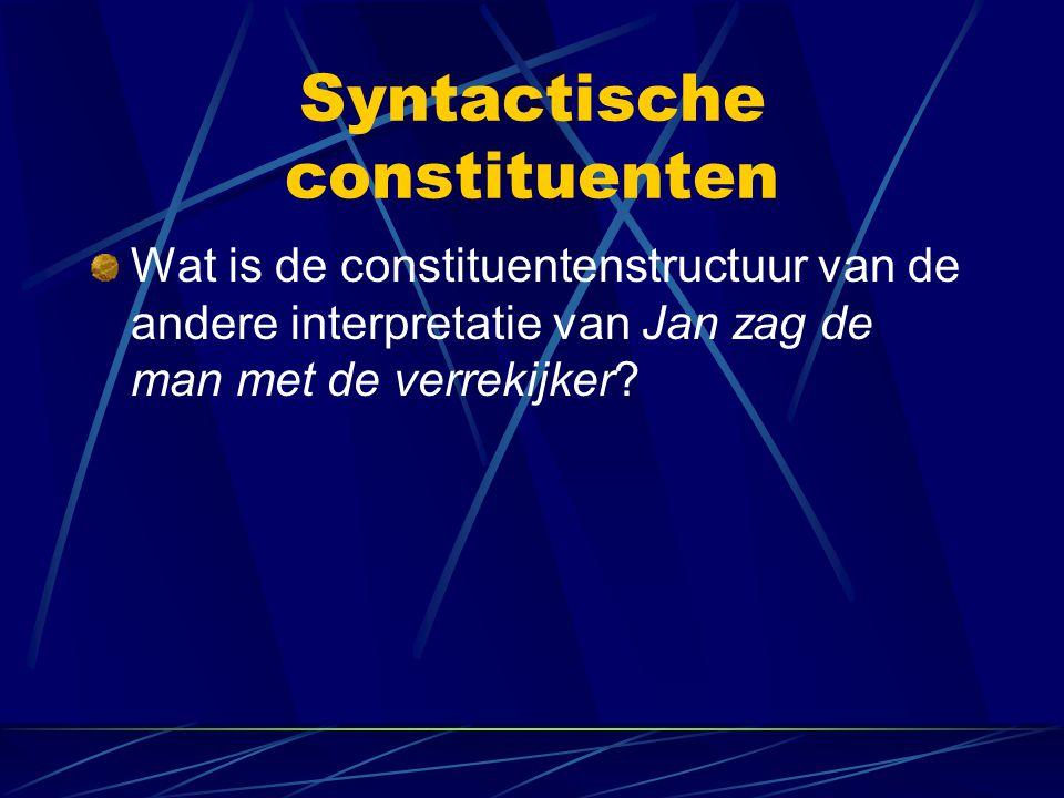 Syntactische constituenten Wat is de constituentenstructuur van de andere interpretatie van Jan zag de man met de verrekijker?