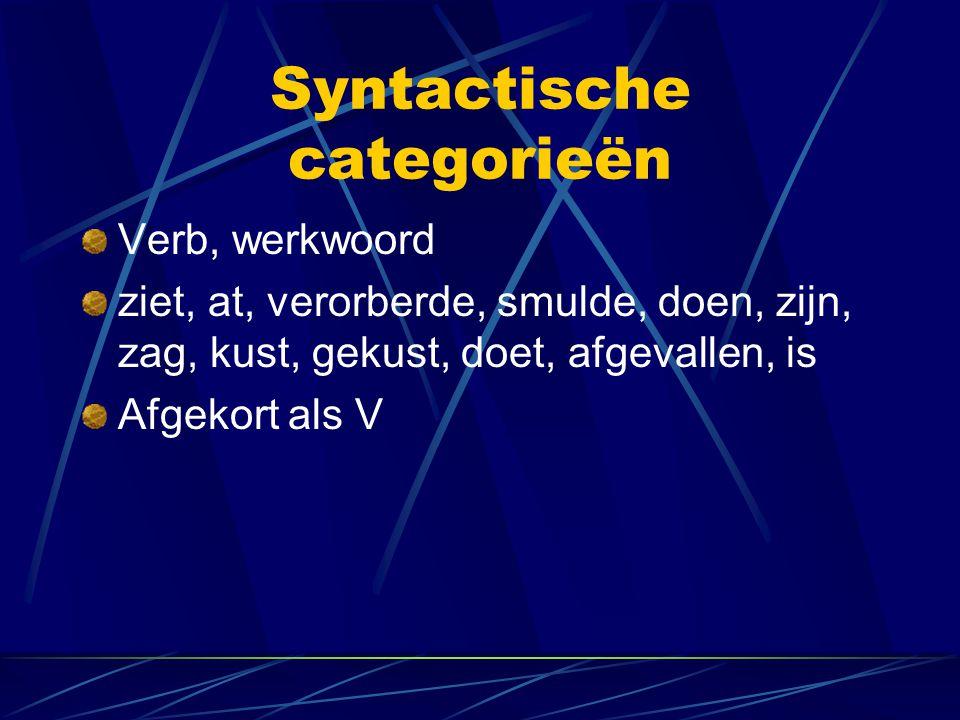 Syntactische categorieën Verb, werkwoord ziet, at, verorberde, smulde, doen, zijn, zag, kust, gekust, doet, afgevallen, is Afgekort als V