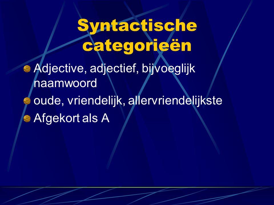 Syntactische categorieën Adjective, adjectief, bijvoeglijk naamwoord oude, vriendelijk, allervriendelijkste Afgekort als A