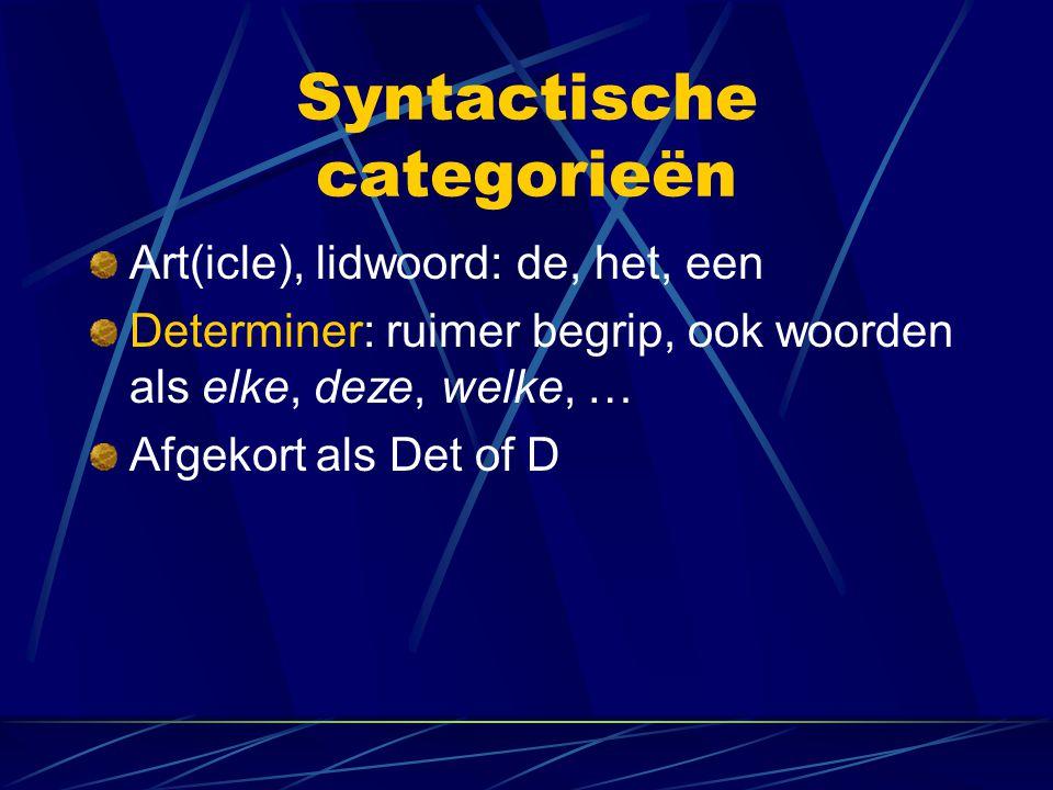 Syntactische categorieën Art(icle), lidwoord: de, het, een Determiner: ruimer begrip, ook woorden als elke, deze, welke, … Afgekort als Det of D