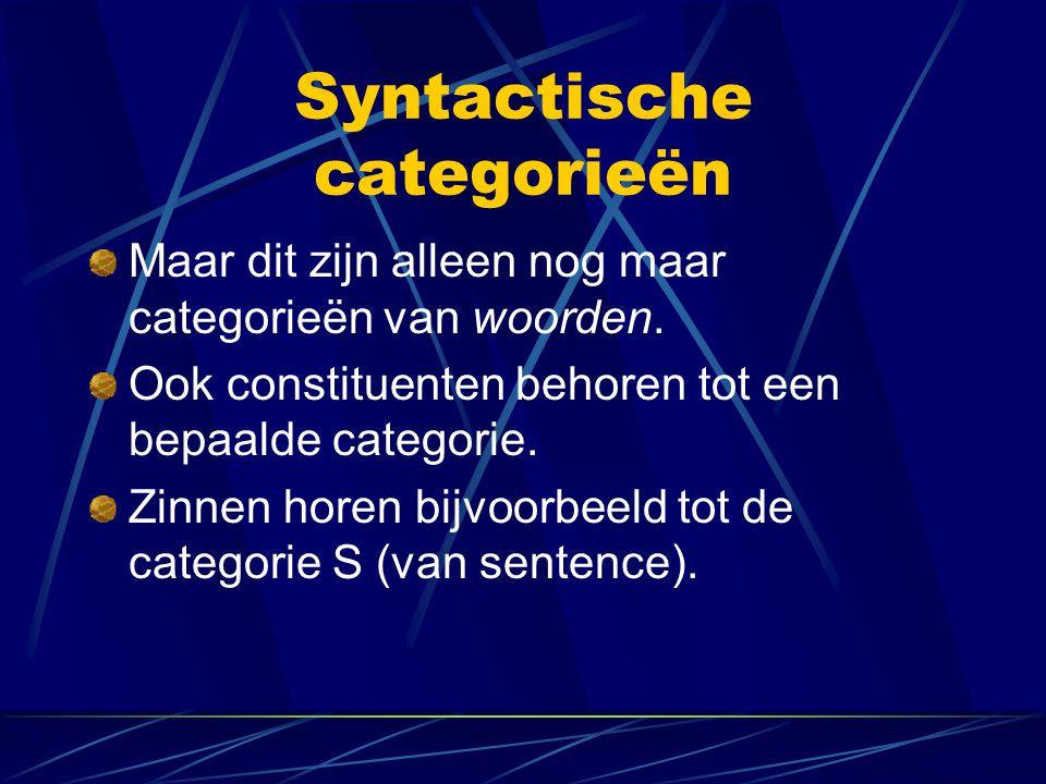 Syntactische categorieën Maar dit zijn alleen nog maar categorieën van woorden. Ook constituenten behoren tot een bepaalde categorie. Zinnen horen bij