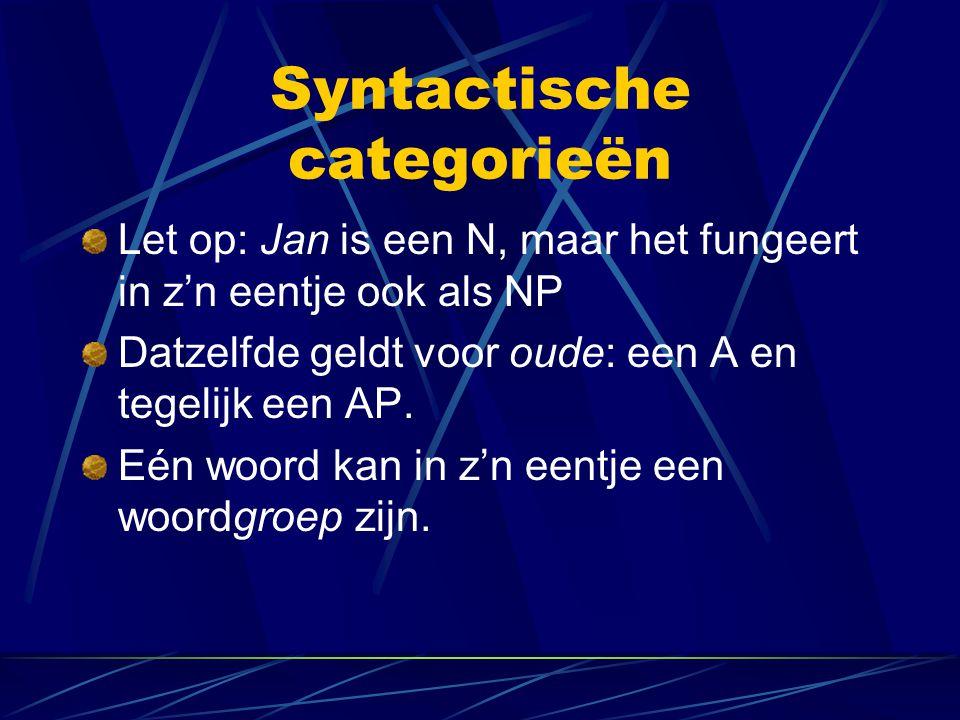 Syntactische categorieën Let op: Jan is een N, maar het fungeert in z'n eentje ook als NP Datzelfde geldt voor oude: een A en tegelijk een AP. Eén woo