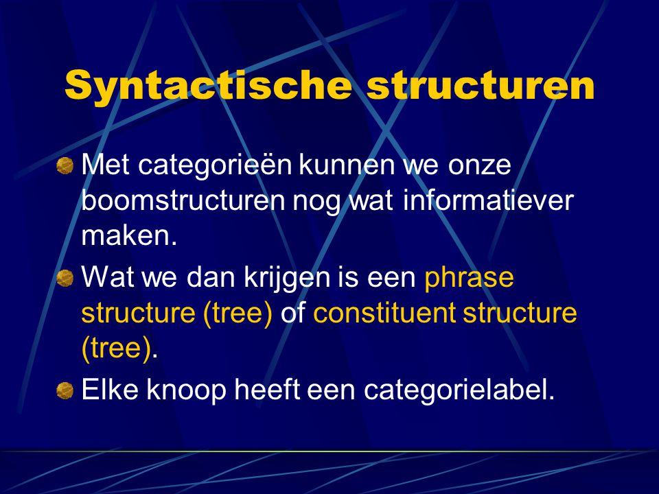 Syntactische structuren Met categorieën kunnen we onze boomstructuren nog wat informatiever maken. Wat we dan krijgen is een phrase structure (tree) o