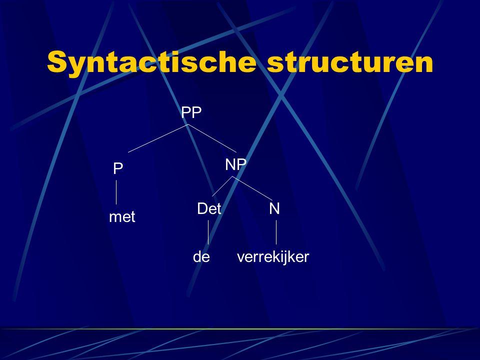 Syntactische structuren PP P NP DetN met deverrekijker