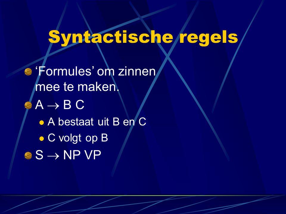 Syntactische regels 'Formules' om zinnen mee te maken. A  B C A bestaat uit B en C C volgt op B S  NP VP