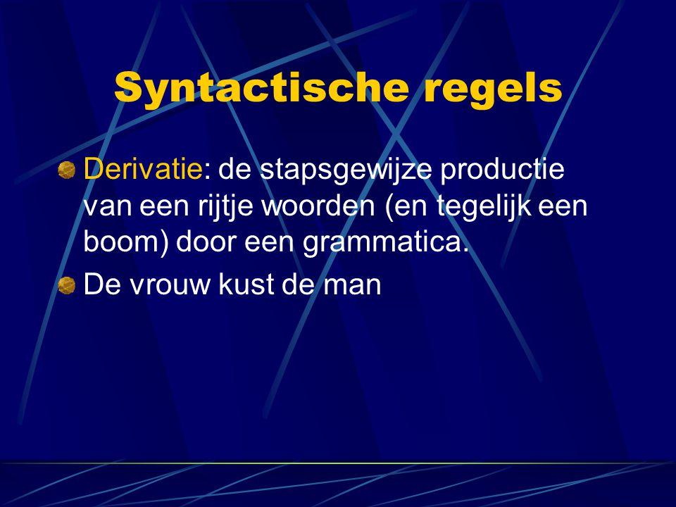Syntactische regels Derivatie: de stapsgewijze productie van een rijtje woorden (en tegelijk een boom) door een grammatica. De vrouw kust de man