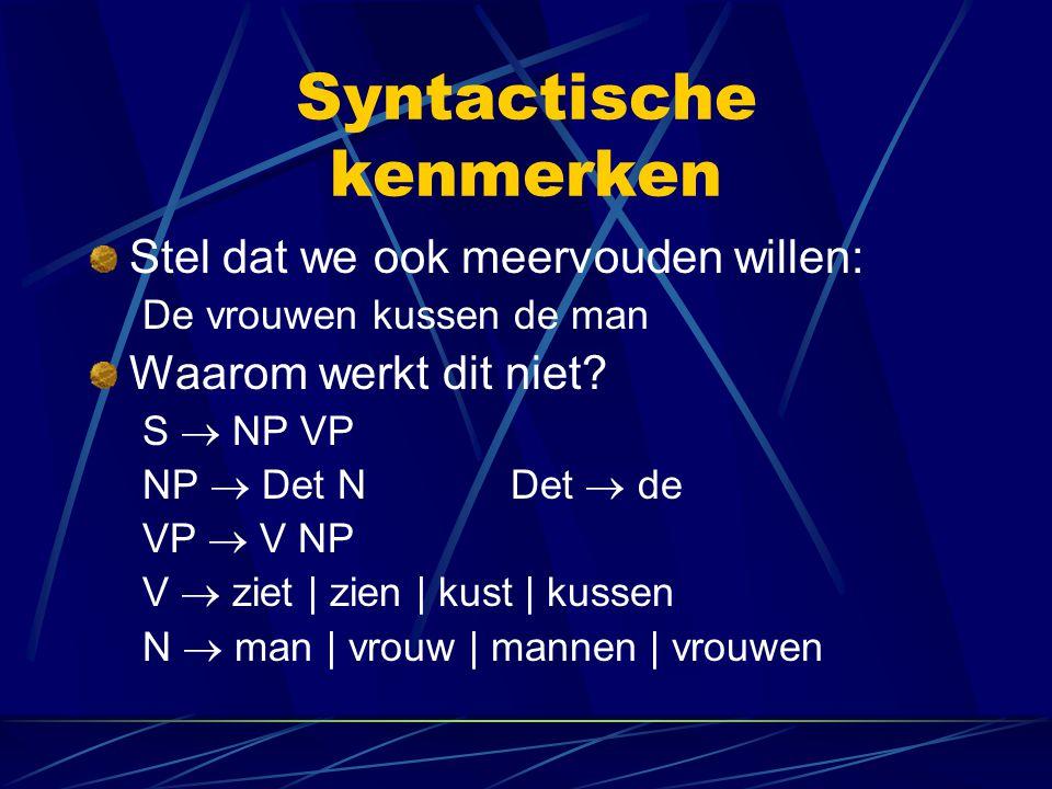 Syntactische kenmerken Stel dat we ook meervouden willen: De vrouwen kussen de man Waarom werkt dit niet? S  NP VP NP  Det NDet  de VP  V NP V  z