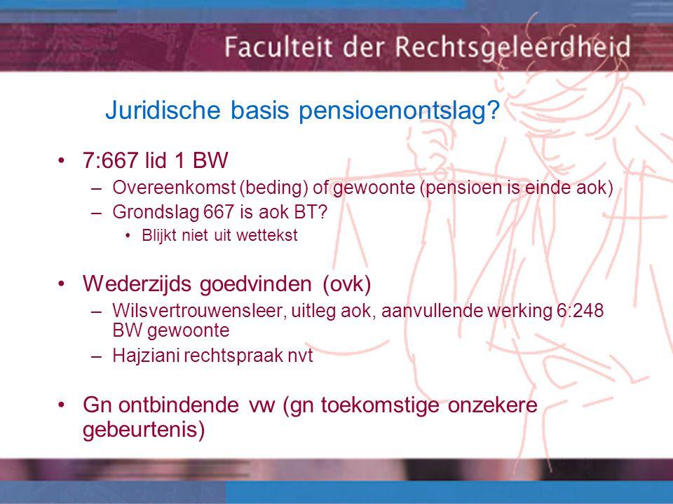 Juridische basis pensioenontslag.